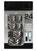 Faces Nail Favorites 24 Metallic Nails - Black Beauty
