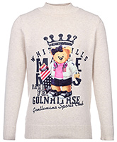 Stylish Full Sleeves Sweater With Bear Design