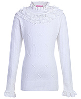 Full Sleeves Sweater With Frill Neck