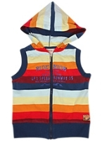 Sleeveless Hooded Sweat Shirt With Stripes