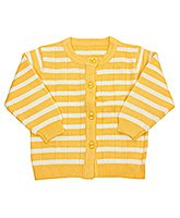 Front Open Full Sleeves Striped Sweater