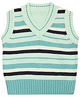Sleeveless V Neck Striped Sweater