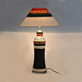 Terracotta Handpainted Madhubani Tappered Lamp White