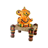 Terracotta Hand Painted Ganesha With Chowki - Yellow