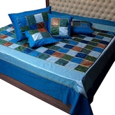 Little India - Blue Multicolour Silk Double Bed Cover Set DLI3SLK330