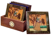 Little India Gemstone Painting Pure Brass Tea Coasters Gift Set - DLI3HCF112