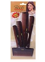 Roots Brown Hair Combs - Family Pack