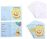 Winnie The Pooh - 1st Birthday Invitation with Envelopes