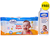 Anti Bacterial Baby Wipes 80 Pieces, Baby Wipes, Free Little's Baby Powder of ...