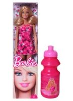 Barbie Fashion doll In a Stylish Pink Outfit 3 Years +, Free Water Bottle