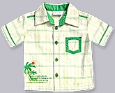 Check Shirt with Palm Tree Print 0 - 3 Months, Half sleeves printed cotton check shir...