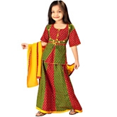 Little India - Rajasthani Red Green Booti Work Lehanga Choli