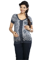Nine Half Sleeves Maternity Top Button Style