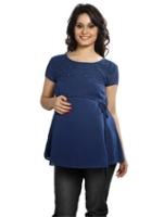 Nine - Maternity Chiffon Top Knitted Lace