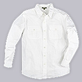 Shopper Tree - Full Sleeves White Cambric Cotton Shirt