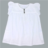 Shopper Tree - Short Sleeves White Cotton Frock
