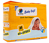 Wipro Baby Soft Cloth Feel Diapers Medium - 48 Pieces