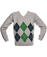 Boys Diamond Sweater - Grey