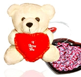 Anant Cuddly Heart Musical Teddy Bear with Chocolate Hearts - ST011