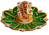 Dharohar Marble Lord Ganesha On Beautiful Lotus Leaf - D MB 020