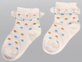 Cute Walk - Floral Design Socks With Shiny Lace