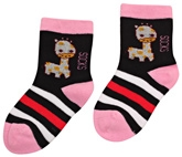 Cute Walk - Striped Socks With Giraffe Design
