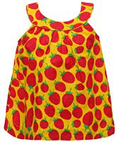 Little Pixies - Sleeveless Strawberry Print Frock With Bloomers