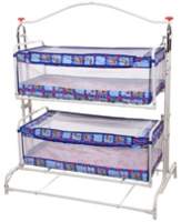 New Natraj - Teddy Print Blue Twins Cradle