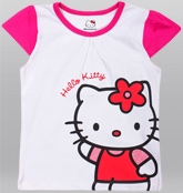 Hello Kitty - Short Sleeves Top With Cat Print