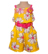 Infancy - Singlet Floral Printed Jumpsuit With Hair Band