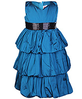 Faye - Blue Green Three Tiered Bubble Dress
