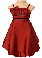 Faye - Burgundy Strappy Balloon Dress