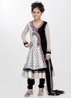 Girlish - Lace And Net Angarakha Style Salwaar Kameez With Dupatta