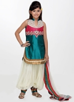 Girlish - Harem Salwar Kameez With Patti Work Dupatta