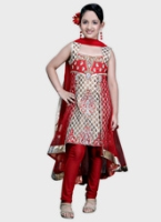 Girlish - Sleeveless Embroidered Salwaar Suit With Dupatta