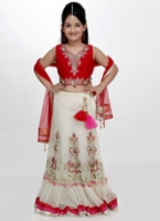 Girlish - Sleeveless Choli and Lehenga Set With Dupatta