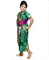 Bhartiya Paridhan - Nauvari Green And Pink Sari Set