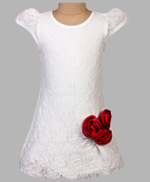 Little Darling - Lace Party Dress With Satin Rosettes