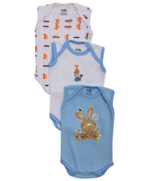 Baby Hug - Sleeveless White And Blue Printed Onesies