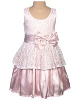 Little Darling - Pale Mauve Satin And Lace Party Dress