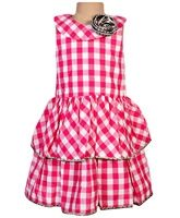 Little Darling - Sleeveless Check Dress With Ruffles
