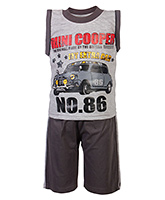 Baby Hug - Sleeveless Printed T-Shirt And Shorts Set