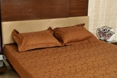Story Premium Deep Brown Double Bed Sheet - ST1007