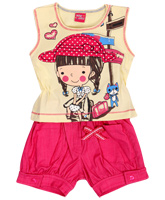 WOW - Girls Sleeveless Graphic Set And Suit