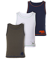 Lady Bird - Boys Vests In Solid Colours Set of 3
