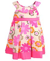 I Like Pink - Sleeveless Floral Print Frock With Pleats