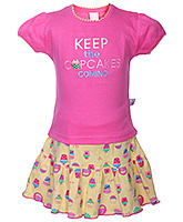 Toffy House - Cup Cakes Print Top And Skirt Set