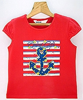 Beebay -  Cap Sleeves T-Shirt With Anchor Print