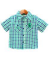 Beebay -  Half Sleeves Teal Green Check Shirt