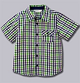 Beebay - Half Sleeves Green Purple Checks Shirt